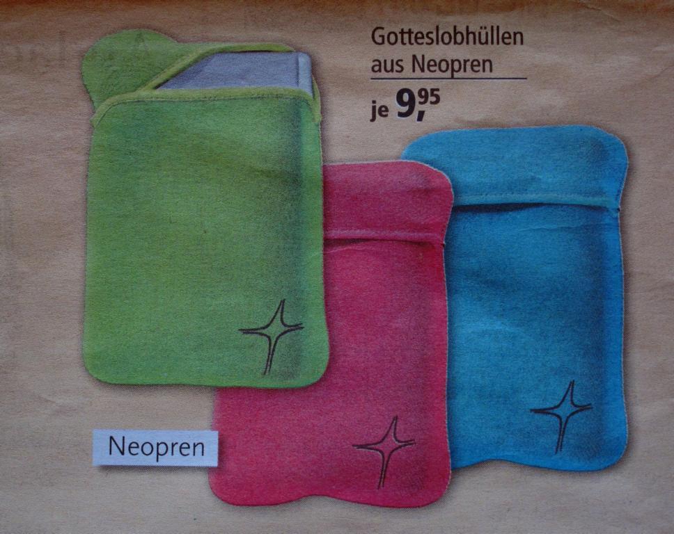 """Neoprenhüllen, Entwurf September 2013 (""""Anzeige im Tag ds Herrn"""")"""