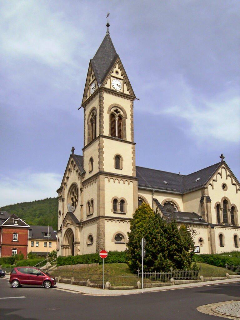 St. Stefan Sonneberg von Südwesten (Bild: Wikimedia Commons, Michielverbeek)