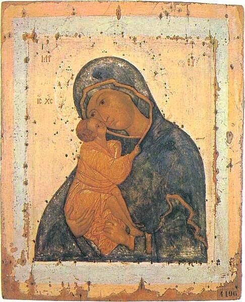"""Ikone der """"blauen"""" Mutter Gottes vom Don, Ende 15. – Anfang 16. Jh.  Russisches Museum, St. Petersburg (Bild: Wikicommons, Testus)"""