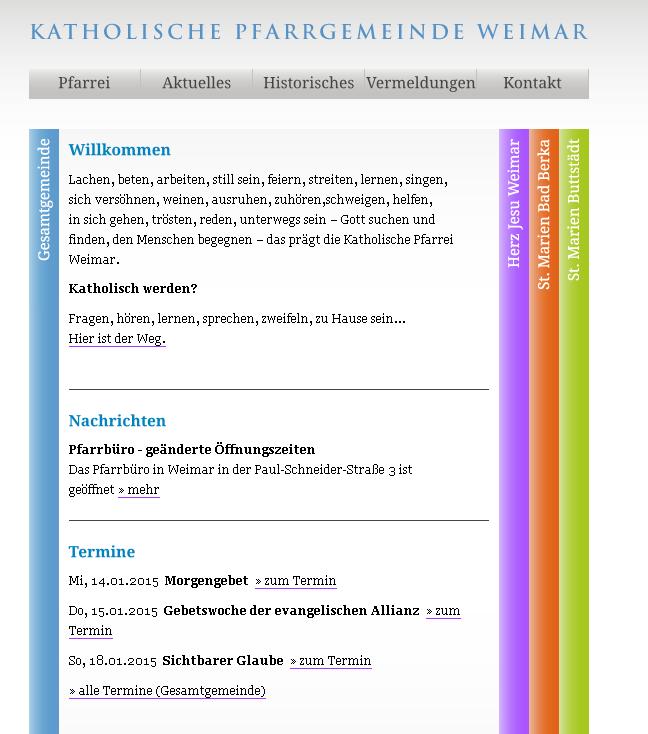 Herz Jesu Weimar, Startseite der Homepage am 12. Januar 2015