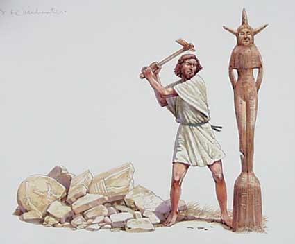 Gideon haut den Pfahl der Aschera nieder