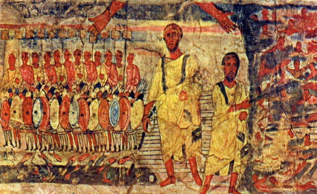 Der Durchgang durchs Rote Meer, Fresko in der Synogoge in Dura Europos (Bild: Wikimedia Commons, I. Becklectic)