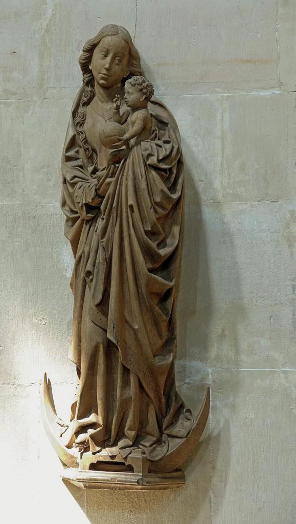 Spätgotische Mondsichelmadonna (ca. 1480) in der Stiftskirche St. Pankratius in Hamersleben (Bild: Wikimedia Commons, Waldstein)