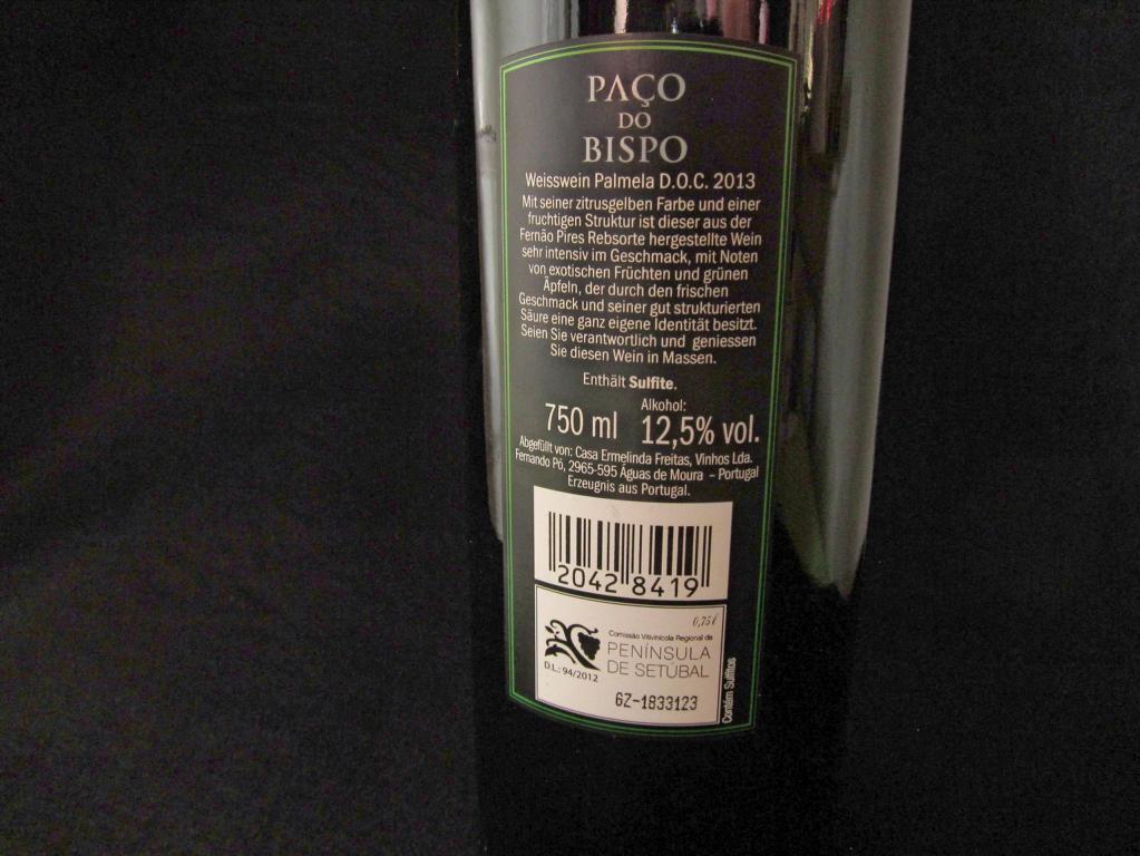 Weißwein aus Portugal, Rückenetikett (eigenes Bild)