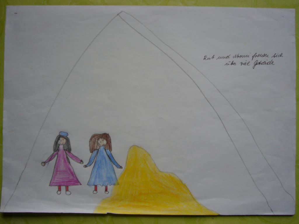 """""""Rut und Noomi freuen sich über viel Getreide"""" (Pauline, 7 Jahre; eigenes Bild)"""